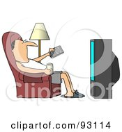 Relaxed Man Slouching In A Chair With A Canned Beverage Pointing A Remote At A Television