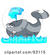 Royalty Free RF Clipart Illustration Of A Gray Whale Floating On Blue Waves Shooting Up A Spray Of Water
