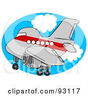 Royalty Free RF Clipart Illustration Of A Red And Gray Airplane Over An Oval Of Blue Sky With Clouds