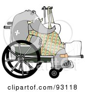 Injured Elephant Recovering In A Hospital Sitting In A Wheelchair With A Sling And Cast