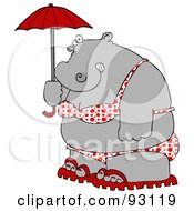 Fat Hippo In A Polka Dot Bikini Carrying A Parasol