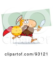 Royalty Free RF Clipart Illustration Of A Brave Knight Or Gladiator Running With A Shield And Sword