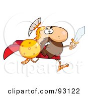 Royalty Free RF Clipart Illustration Of A Brave Gladiator Knight Running With A Shield And Sword by Hit Toon