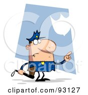 Royalty Free RF Clipart Illustration Of A Toon Police Man Pointing And Holding A Club by Hit Toon