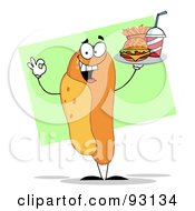 Royalty Free RF Clipart Illustration Of A Hot Dog Character Serving Fast Food On A Tray