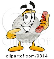 Clipart Picture Of A Golf Ball Mascot Cartoon Character Holding A Telephone