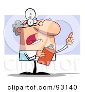 Royalty Free RF Clipart Illustration Of A Senior Doctor Guy Holding A Clipboard And Pointing by Hit Toon