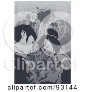 Royalty Free RF Clipart Illustration Of A Man Giving A Woman A Tattoo On Her Arm by mayawizard101