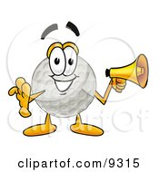 Clipart Picture Of A Golf Ball Mascot Cartoon Character Holding A Megaphone