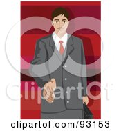Royalty Free RF Clipart Illustration Of A Business Man Reaching His Hand Out To Greet You