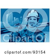 Royalty Free RF Clipart Illustration Of A Construction Worker 4 by mayawizard101
