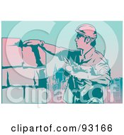Royalty Free RF Clipart Illustration Of A Construction Worker 9 by mayawizard101