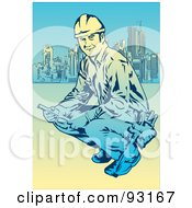 Royalty Free RF Clipart Illustration Of A Construction Worker 7 by mayawizard101