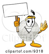 Clipart Picture Of A Golf Ball Mascot Cartoon Character Holding A Blank Sign