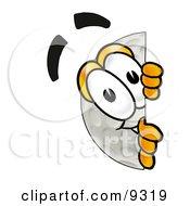 Golf Ball Mascot Cartoon Character Peeking Around A Corner