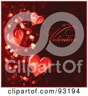 Royalty Free RF Clipart Illustration Of A Red Be My Valentine Greeting With Sparkly Lights And Shiny Red Hearts