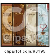 Royalty Free RF Clipart Illustration Of A Digital Collage Of Four Vertical Coffee Banners by Anja Kaiser