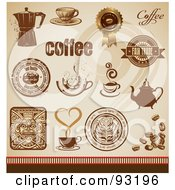 Digital Collage Of Brown And Gold Coffee Design Elements And Seals On Beige
