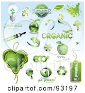 Digital Collage Of Green Organic And Ecology Icons And Design Elements