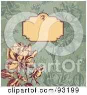 Royalty Free RF Clipart Illustration Of A Vintage Rose And Blank Text Box Over A Green Background by Anja Kaiser