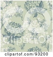 Royalty Free RF Clipart Illustration Of A Seamless Green And White Hydrangea Hortensia Flower Background Pattern