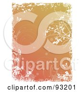 Gradient Orange Background With Faint Swirly Vines And Butterflies Bordered In White Grunge