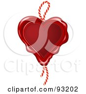 Royalty Free RF Clipart Illustration Of A Red Wax Seal Heart With A Rope