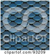 Royalty Free RF Clipart Illustration Of A Background Of Blue Scales Or Roofing Shingles by Arena Creative