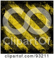 Royalty Free RF Clipart Illustration Of A Background Of Distressed Diagonal Hazard Stripes With Black Edges