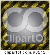 Royalty Free RF Clipart Illustration Of A Background Of Distressed Diagonal Hazard Stripes Around Brushed Metal