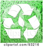 Royalty Free RF Clipart Illustration Of A White Recycling Symbol And Leaf On A Wet Green Background