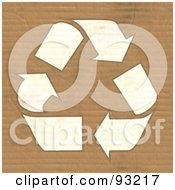 Royalty Free RF Clipart Illustration Of A White Recycling Symbol On Corrugated Cardboard