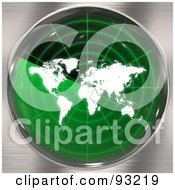 Royalty Free RF Clipart Illustration Of A Round Green Radar Screen With A World Map Over Brushed Metal