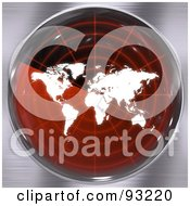Royalty Free RF Clipart Illustration Of A Round RedRadar Screen With A World Map Over Brushed Metal
