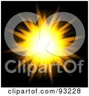 Royalty Free RF Clipart Illustration Of A Yellow And Orange Flaring Sun On Black