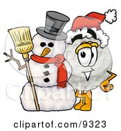 Clipart Picture Of A Golf Ball Mascot Cartoon Character With A Snowman On Christmas