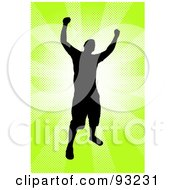 Royalty Free RF Clipart Illustration Of A Successful Male Silhouetted Over Bursting Green by Arena Creative