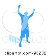 Royalty Free RF Clipart Illustration Of A Successful Blue Male Silhouette Over White by Arena Creative