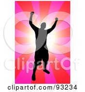 Royalty Free RF Clipart Illustration Of A Successful Black Male Silhouette Over A Pink And Red Burst