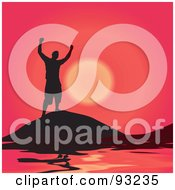 Royalty Free RF Clipart Illustration Of A Black Silhouetted Man On A Hill Top Over The Sea Against A Red Sunset