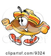 Clipart Picture Of A Hard Hat Mascot Cartoon Character Speed Walking Or Jogging by Toons4Biz
