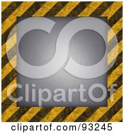 Royalty Free RF Clipart Illustration Of A Light Shining On Brushed Metal Bordered With Hazard Stripes