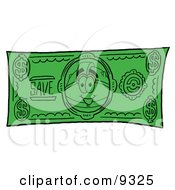 Clipart Picture Of A Hard Hat Mascot Cartoon Character On A Dollar Bill by Toons4Biz