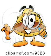 Clipart Picture Of A Hard Hat Mascot Cartoon Character Looking Through A Magnifying Glass by Toons4Biz