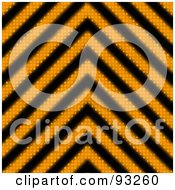 Royalty Free RF Clipart Illustration Of A Zig Zag Background Of Orange And Black Hazard Stripes