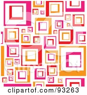 Royalty Free RF Clipart Illustration Of A Retro Background Of Pink And Orange Squares On White by Arena Creative