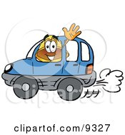 Clipart Picture Of A Hard Hat Mascot Cartoon Character Driving A Blue Car And Waving by Toons4Biz