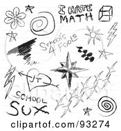 Digital Collage Of Notebook Student Doodles On White