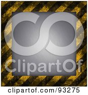 Royalty Free RF Clipart Illustration Of A Dark Border Of Hazard Stripes Around Metal