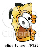Clipart Picture Of A Hard Hat Mascot Cartoon Character Peeking Around A Corner by Toons4Biz
